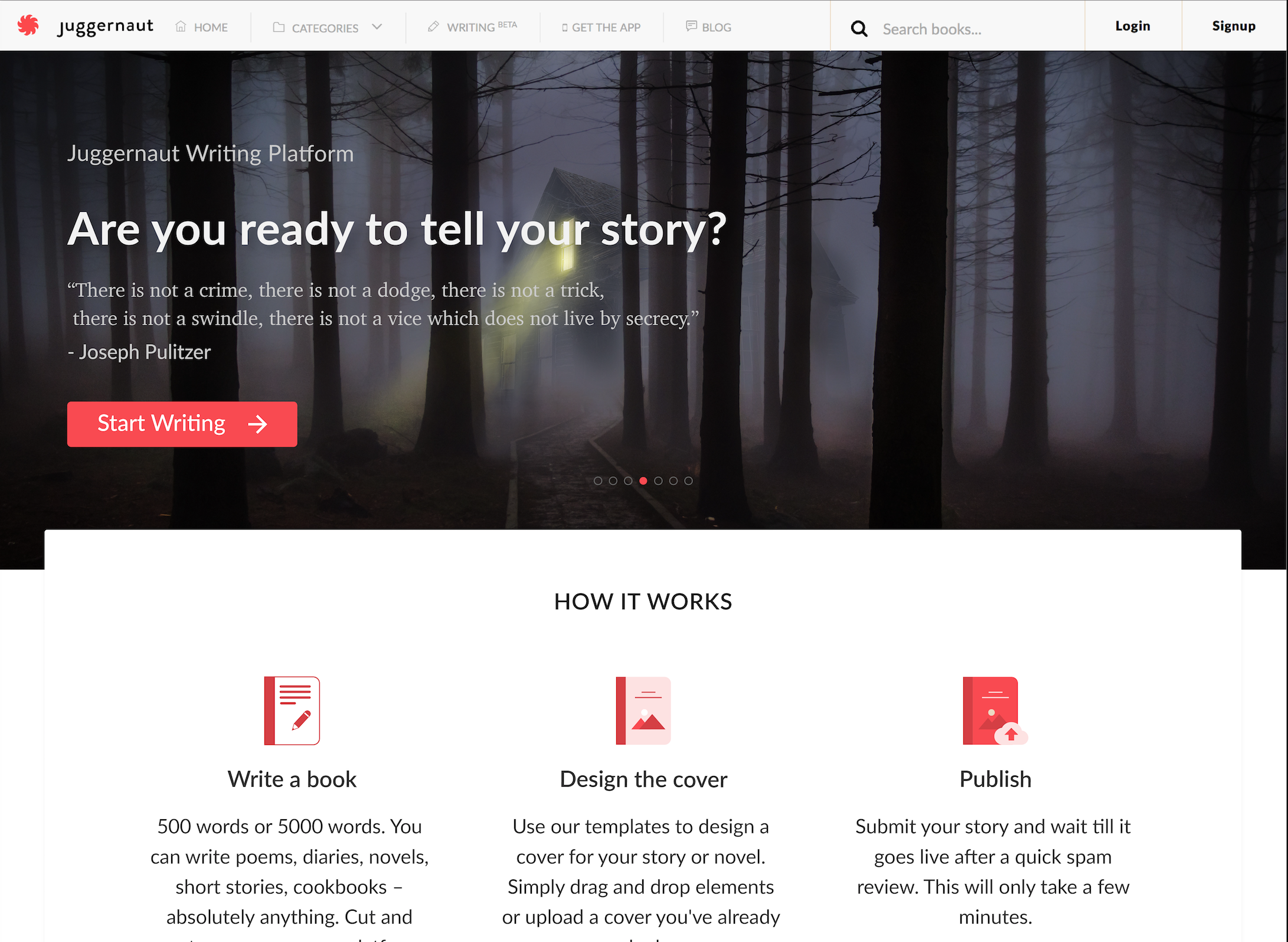 Writing Platform Landing Page - Banner Screenshot - Shared
